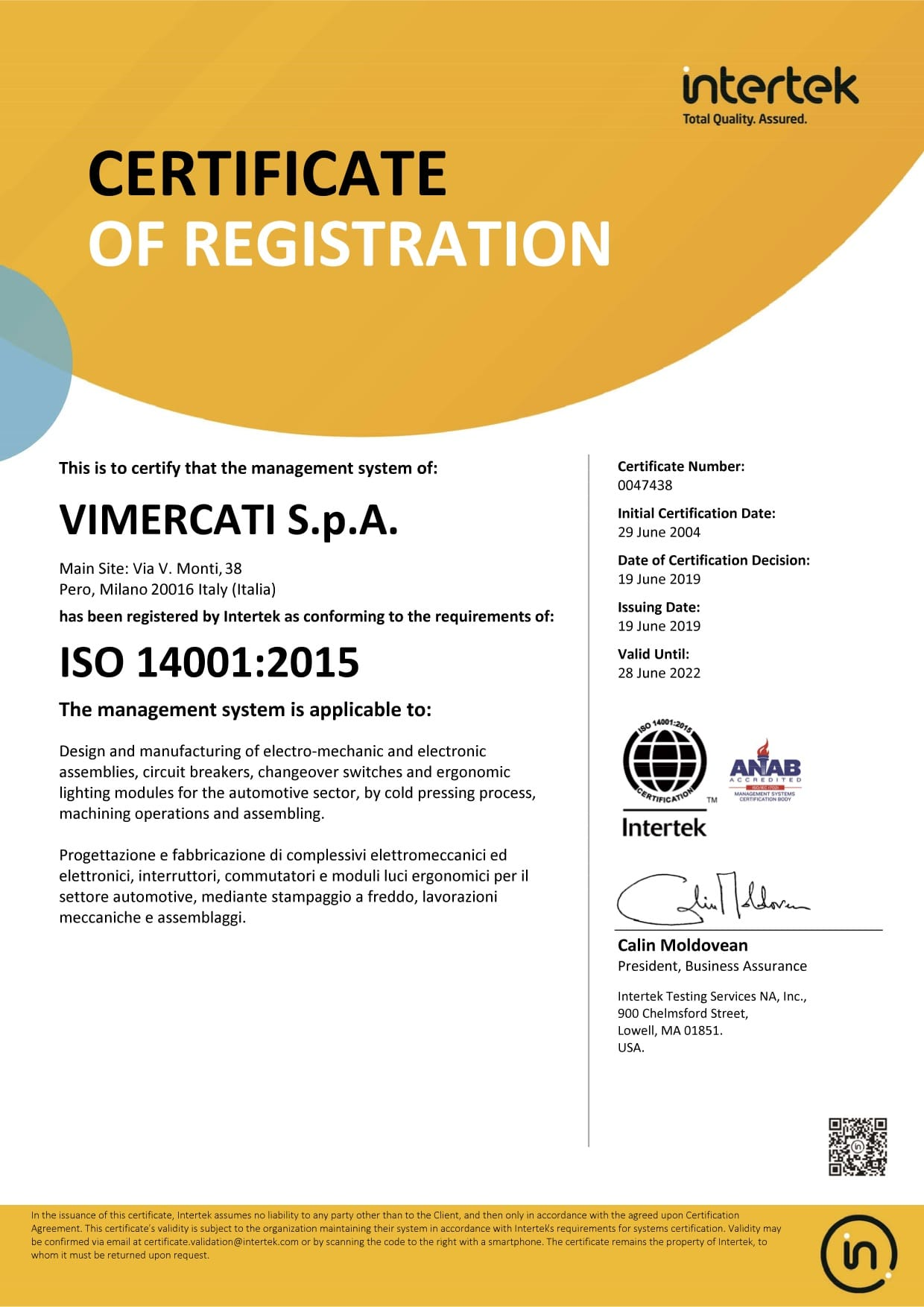 Vimercati - ISO 14001_2015